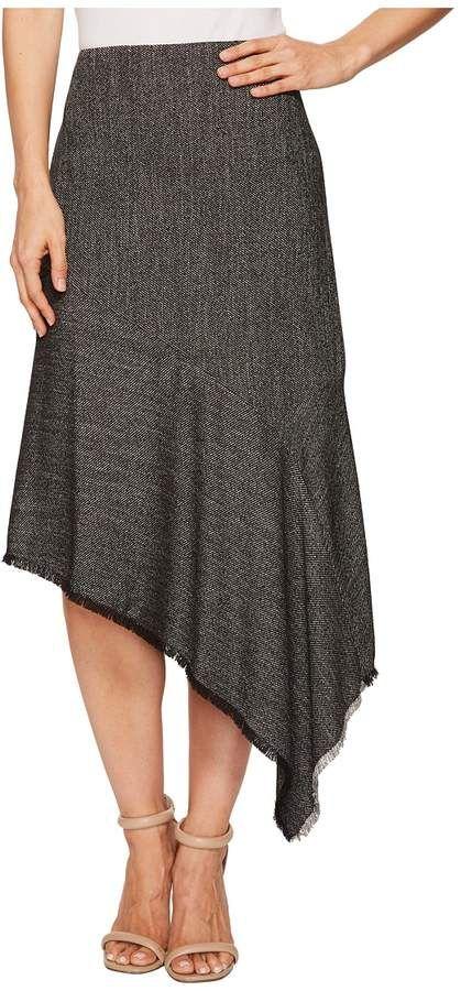 Anne Klein Twill Asymmetrical Ruffle Skirt