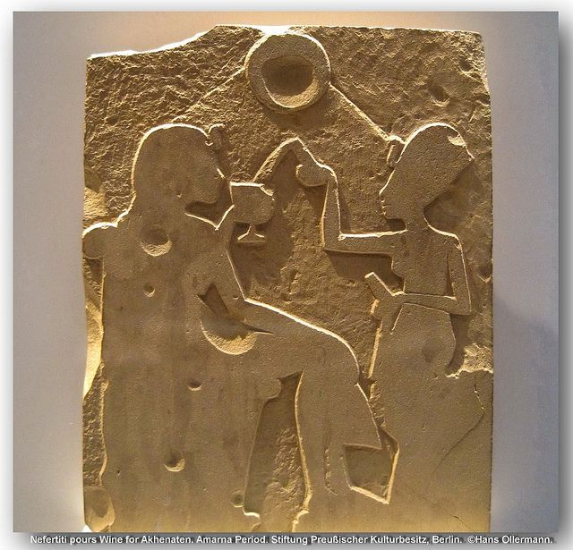 Unfinished stela - Nefertiti pours Wine for Akhenaten. Amarna Period. Around 1345 BC. Limestone. Gift of James Simon, 1920. Inv.nr. 20716.. Neues Museum, Berlin.