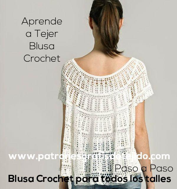 257 best Blusas tejidas a crochet images on Pinterest | Chaquetas ...