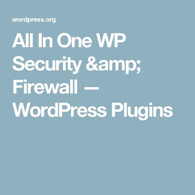 All In One WP Security & Firewall — WordPress Plugins