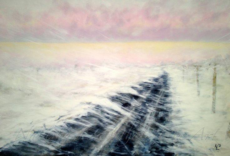 """The Road Home"" by Natasha Lowenthal. Prairie winter painting.  acrylic on canvas. www.natashalowenthal.com"