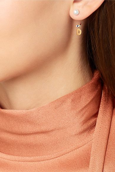 Delfina Delettrez - Abc 18-karat Gold, Pearl And Enamel Earring - S