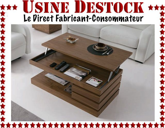 Table basse de salon relevable bois design moderne contemporain avec ...