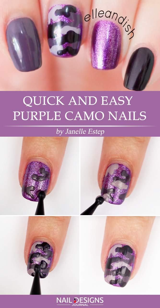 Quick And Easy Purple Camo Nails