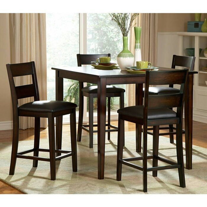 Biggs 5 Piece Counter Height Solid Wood Dining Set Tall Dining Room Table Kitchen Table Settings Bar Height Kitchen Table