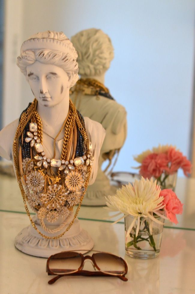 Statement Necklace Storage on a female bust statue…..  #jewelry #storage #orga…