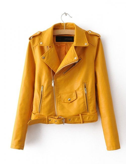 Women's Slim Fit Motorcycle Jacket in Mustard is a great addition to the hipster wardrobe!