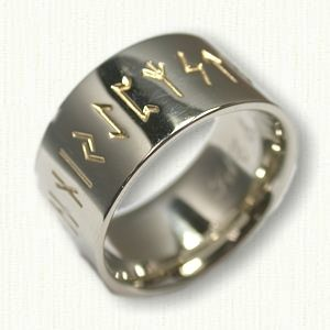14kt white gold custom runes wedding band reverse etch 11mm width - Personalized Wedding Rings