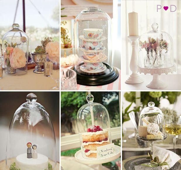 Bell jar cloche wedding centrepiece decor ideas