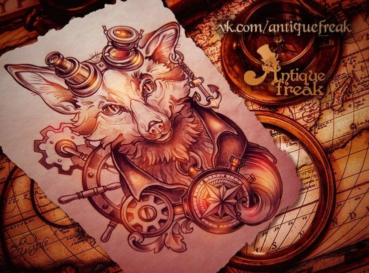 #antiquefreak #sketch #graphics #steampunk #fox #gentleman #sailor #victorian #drawing #black #art #tattooflash #leaves #helm #compass #mechanics #handwheel #anchor #goggles