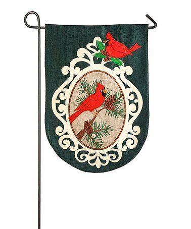 Look at this #zulilyfind! Green & Red Cardinals Outdoor Flag #zulilyfinds