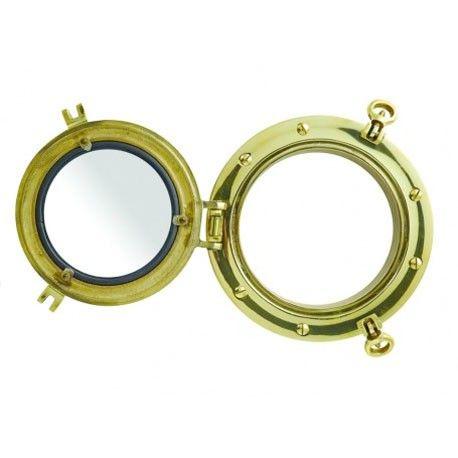 Ojo de buey náutico en latón pulido con anillos y bisagras para fijar en una puerta.   Medidas:Alto:22.00xLargo:22.00xAncho:11.00cm.  Peso:2.41Kgs.