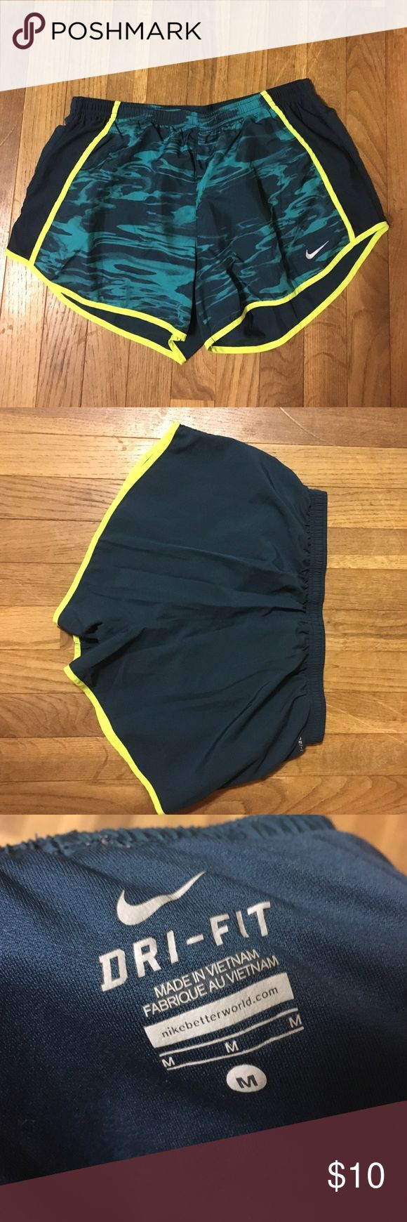 Nike dri fit shorts Teal/neon yellow. Never worn. Built in spandex/underwear Nike Shorts