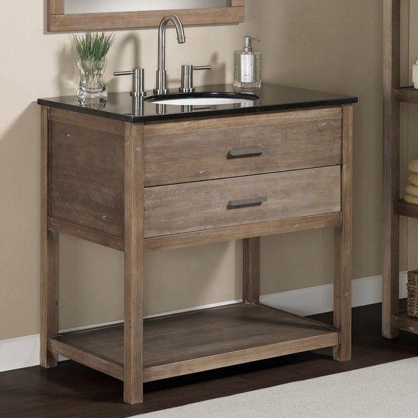 Elements 36 Inch Granite Top Single Sink Bathroom Vanity Rustic Wood Granite