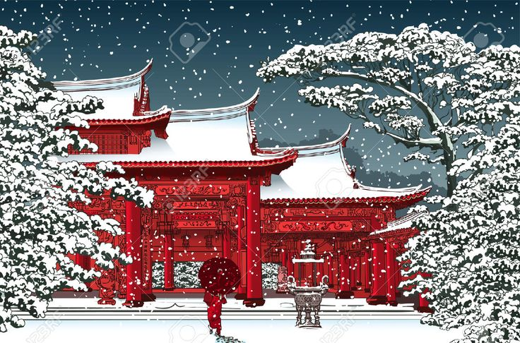 40867778-Japanese-or-chinese-temple-under-snow-Vector-illustration-Stock-Vector.jpg (1300×860)
