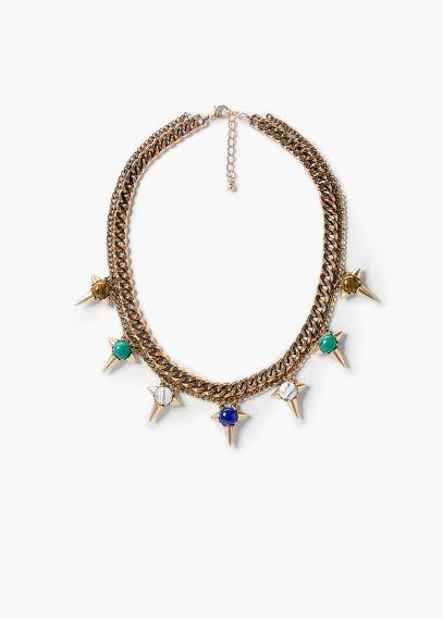 Ожерелье из шнура с шипами   MANGO