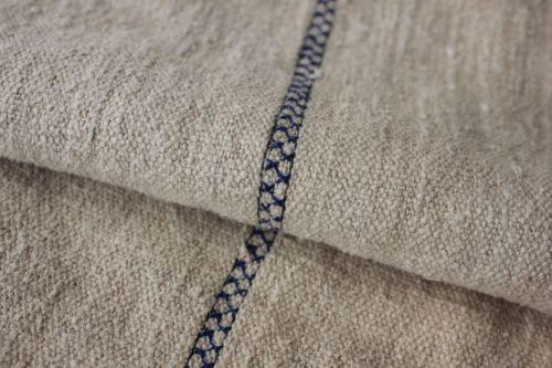 GRAIN SACK vintage grainsack linen European feedbag embroidered BLUE stripe old