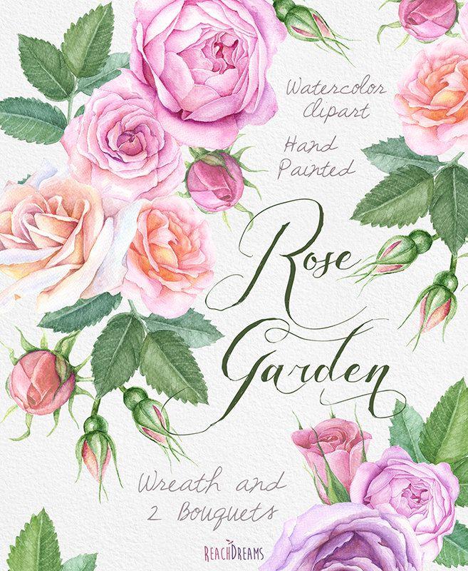 Corona di Rose di acquerello e mazzi di fiori con di ReachDreams