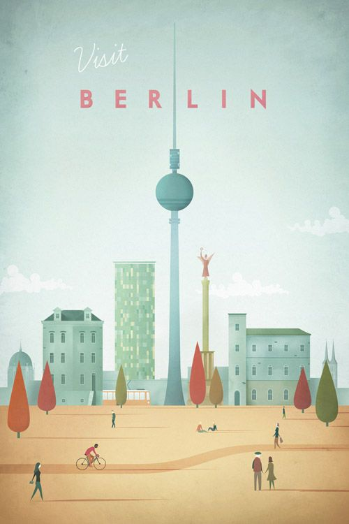 Vintage travel poster of Berlin, Germany. An original illustration for Travel Poster Co. by Henry Rivers.