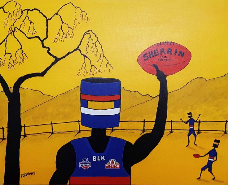 Western Bulldogs/sherrin football/ned kelly/afl premiers/australian rules/funky art/acrylic paint/collectible art/aussie footy/man cave art