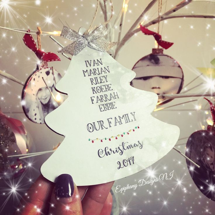 Personalised Christmas tree decoration dangly - family names and year By Epiphany Designs NI