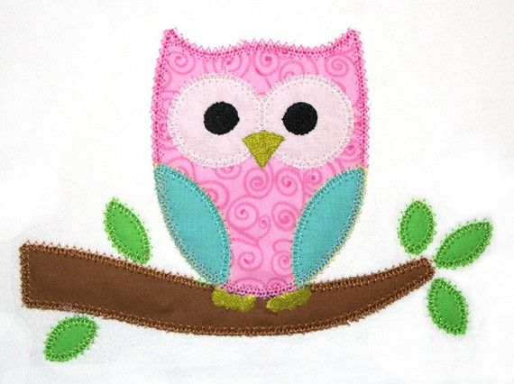 Owl Applique Design 140 by AppliqueChick on Etsy, $4.00