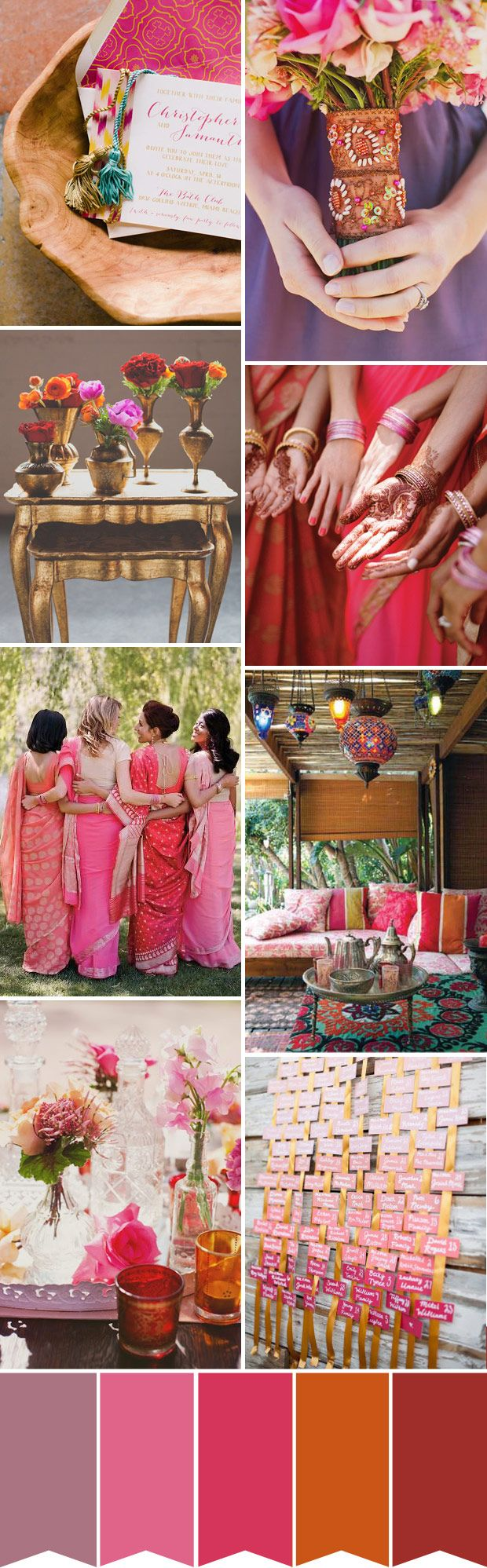 Indian Summer Wedding Inspiration - Read more on One Fab Day: http://onefabday.com/indian-summer-wedding-colour-palette/