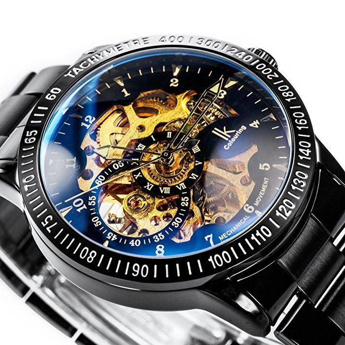 Alienwork IK mechanische Automatik Armbanduhr Skelett Automatikuhr Uhr Herren Uhren sport Zeitloses Design Edelstahl schwarz 98226-12
