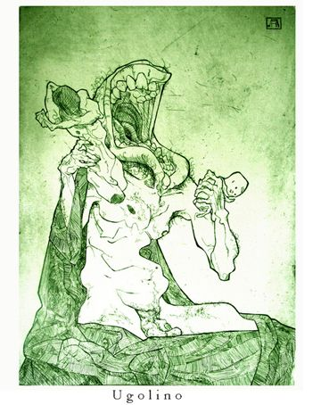 'Ugolino', Etching,  Aidan Harte #ugolino