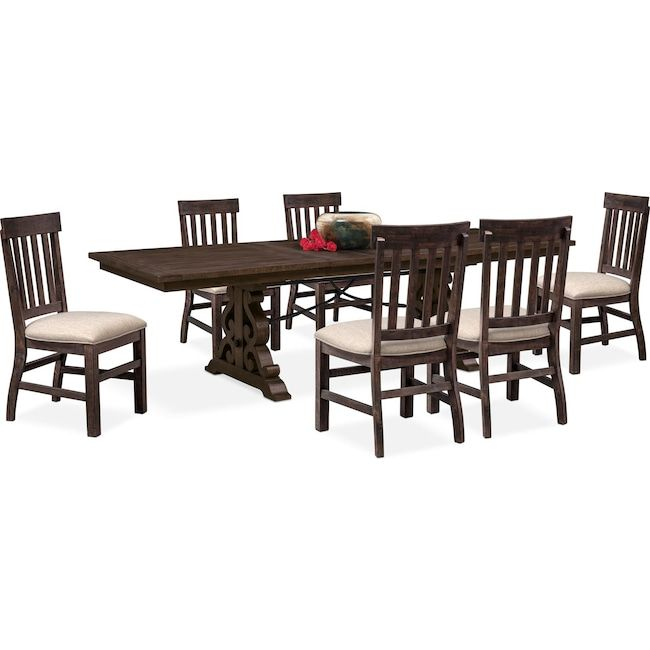 charthouse rectangular dining table and 6 side chairs charcoal rh pinterest com