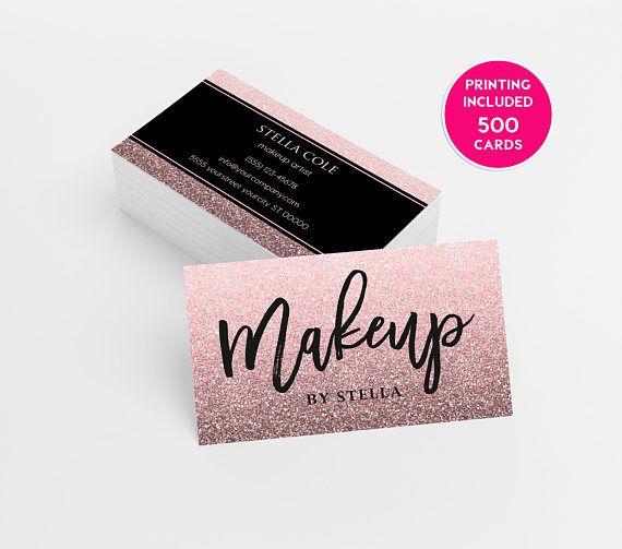 Glitter Makeup Artist Business Card 500 Printed Business Cards Etsy Makeup Artist Business Cards Calling Card Template Beauty Business Cards