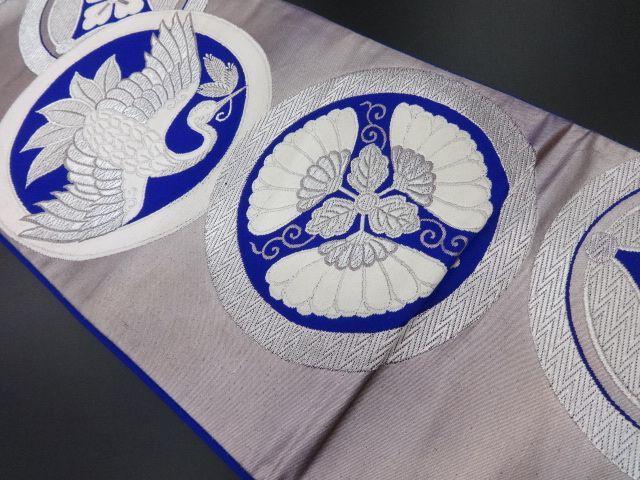 大正ロマン 丸紋に菊・松喰い鶴模様織り出し袋帯