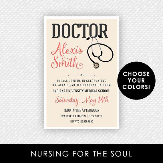 Doctor Invitation - Doctor Graduation Invitation - Doctor Stethoscope Invite - Med School Graduation - MD Invite