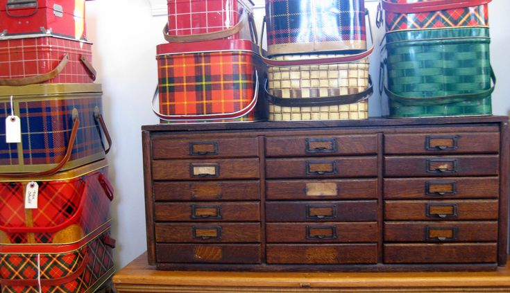 Vintage oak drawers -- shallow legal-size drawers perfect for rubber stamps