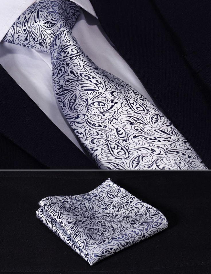 "TF1013B8 Navy Blue Silver Paisley Floral 3.4""Silk Wedding Gravata Jacquard Mans Tie Necktie Pocket Square Handkerchief Set Suit $<span itemprop=""lowPrice"">7.99</span> - <span itemprop=""highPrice"">8.99</span>"