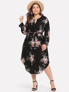 b84ecba06b Plus Surplice Neck Floral Overlap Ruffle Hem Dress in 2019 | Wedding ...