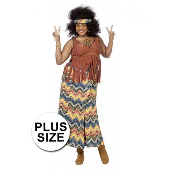 Grote maten hippie kostuum voor dames. Hippie kostuum bestaande uit een lange rok, top met fransjes en een bijpassende hoofdband. Accessoires zijn los verkrijgbaar in onze webshop.