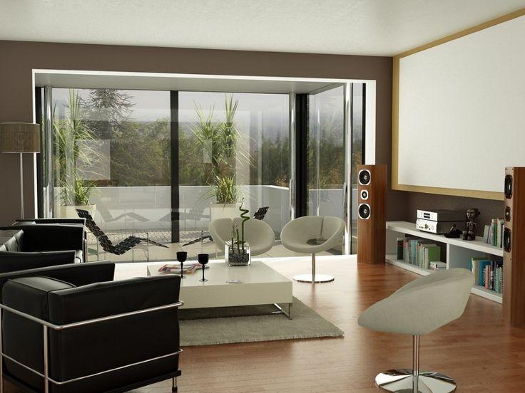 Black brown white living room projectorscreen: Interior Design, White Living Rooms, Idea, Livingroom, Black Brown, Brown White, Projector Screens, Room Design, Contemporary Living Rooms