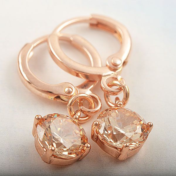 9k rose gold-filled hoop earrings with champagne CZ, 26mm x 8mm