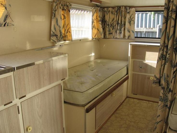 interior of 60s vintage Aussie Globetrotter caravan. Very original. Vintage Caravan Grand Parade -