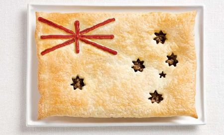 Australian Flag Meat Pie! Might be a bit too warm for the time of year to have on Australia Day, (26th January).  1 tablespoon olive oil;  2 onions, chopped; 1.5kg round or chuck steak, cut into 1.5cm cubes;  1 tablespoon tomato paste;  4½ cups beef stock;  1 cup (250ml) red wine;  1 tablespoon Worcestershire sauce;  2 tablespoons cornflour (cornstarch);  ¼ cup (60ml) water;  sea salt and cracked black pepper;  1 egg, lightly beaten. Top with puff pastry - star shapes cut out. Recipe: Donna…