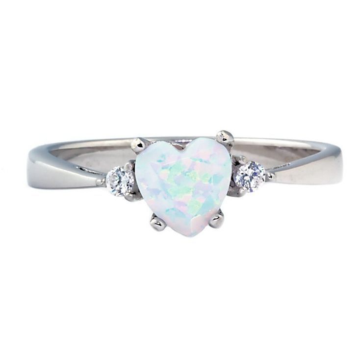 Olena: 0.81ct Heart Cut Fiery White Opal Promise Friendship Ring