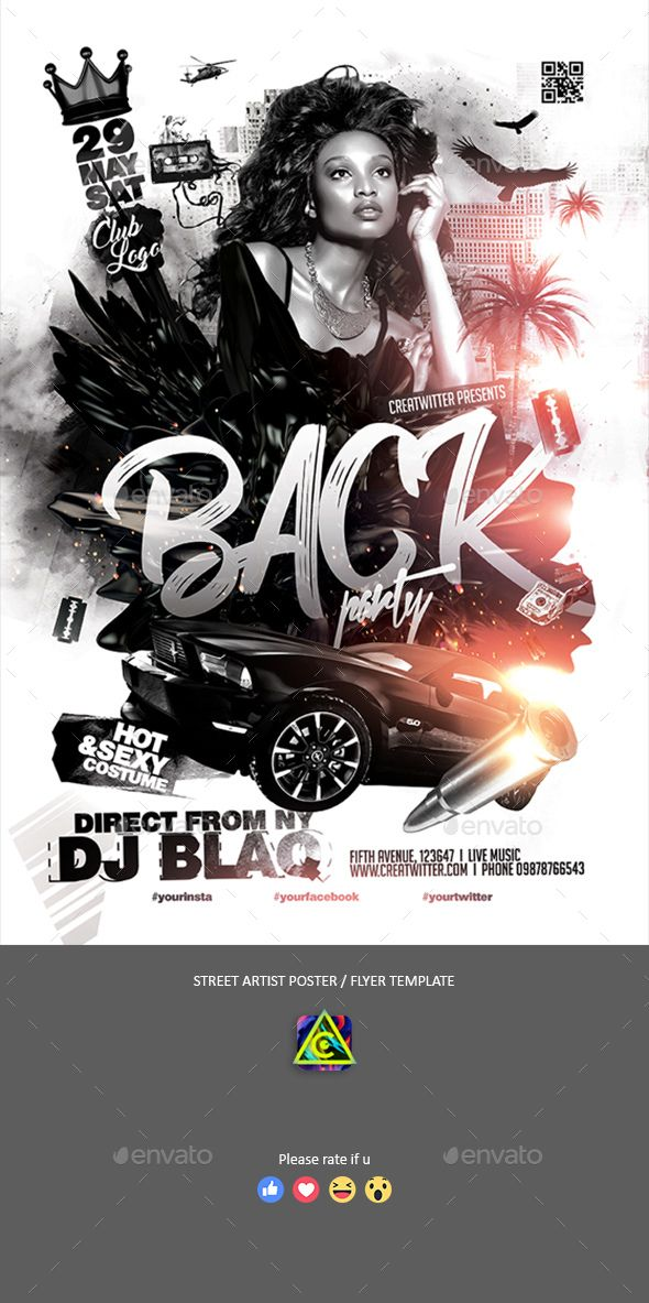 black party poster flyer clubs parties events party flyer