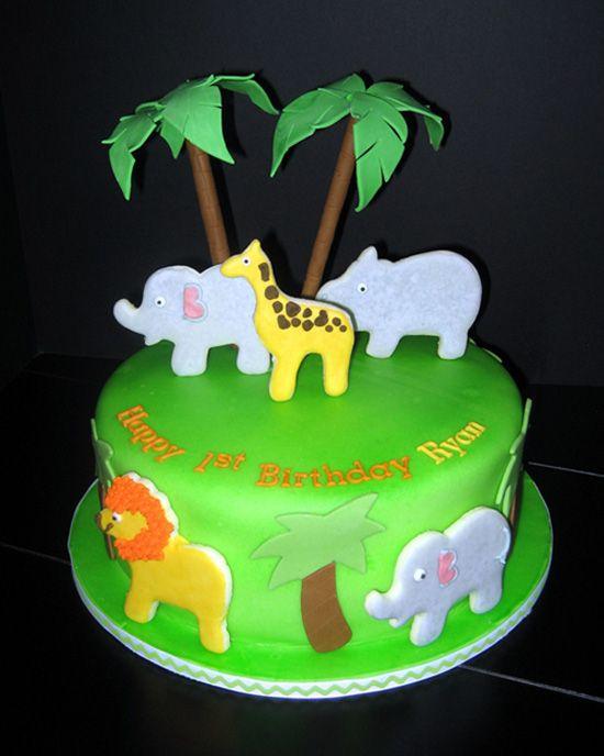 Cute jungle theme birthday cake