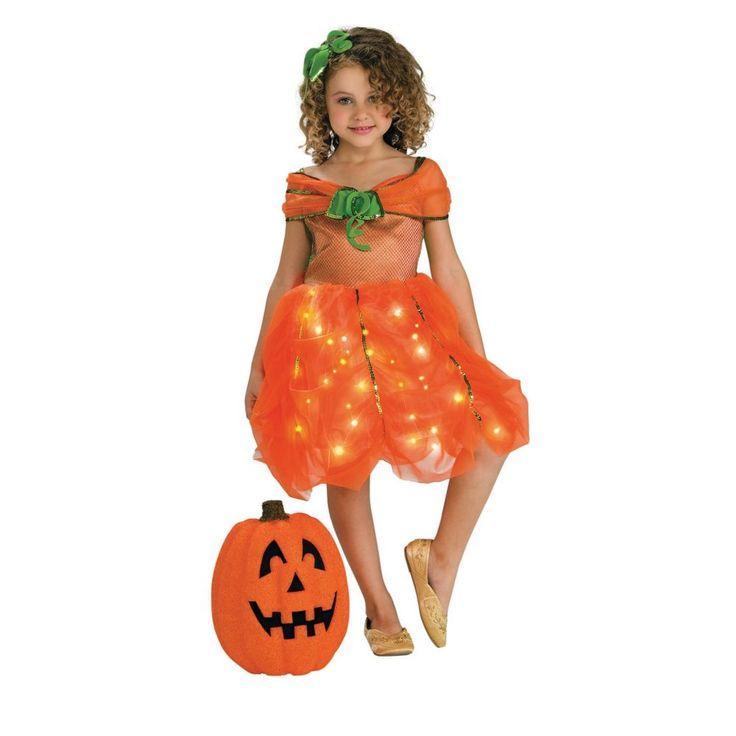 girls lite up pumpkin princess halloween costume for toddlers
