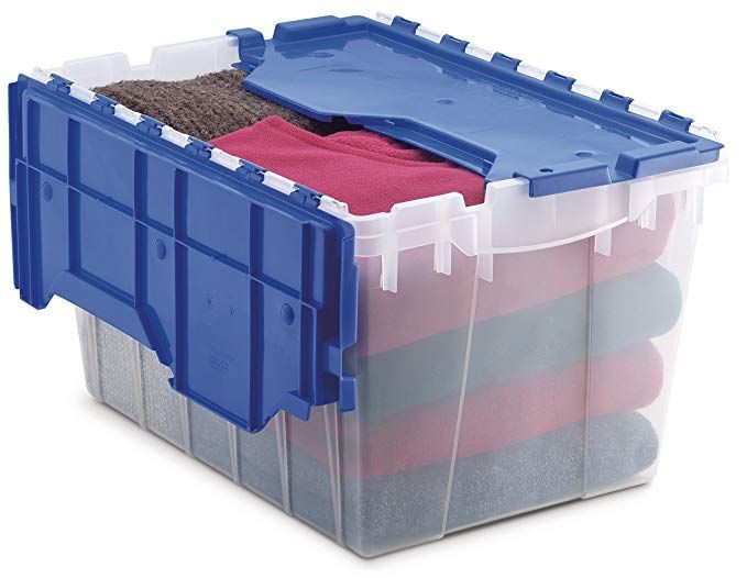 Amazon Com Akro Mils 66486 Cldbl 12 Gallon Plastic Storage Keepbox With Attached Lid 21 1 2 In Plastic Container Storage Plastic Storage Bins Plastic Storage