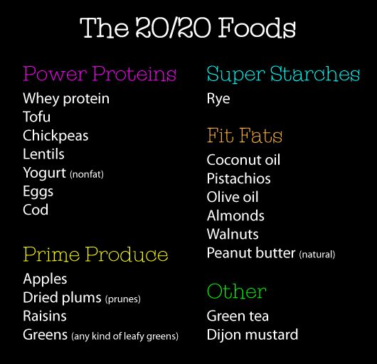 The 20 core foods of the Dr Phil 20/20 diet