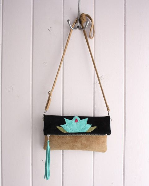 Clutch/Crossbody zip - Metis inspired suede clutch, two-tone black and tan with turquoise