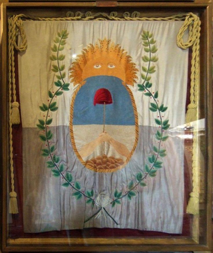 Bandera del Ejército de los Andes (réplica, original:1817), diseñada por el propio José de San Martín con motivo de las expedoiciónes a Chile y Perú, Wikipedia