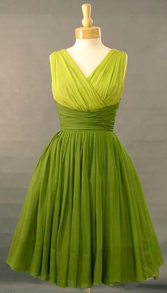 Gathered Two Toned Green Chiffon Cocktail Dress: Cocktails Dresses, 1950S Style, Bridesmaid Dresses, The Dresses, Vintage Green, Shades Of Green, Chiffon Dresses, Vintage Clothing, Green Dresses